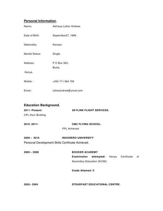 Cv Template Kenya Resume Examples Cv Template Curriculum Vitae Curriculum Vitae Template