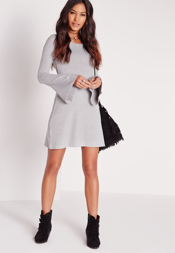 Missguided - Flared Sleeve Ribbed Swing Dress Grey