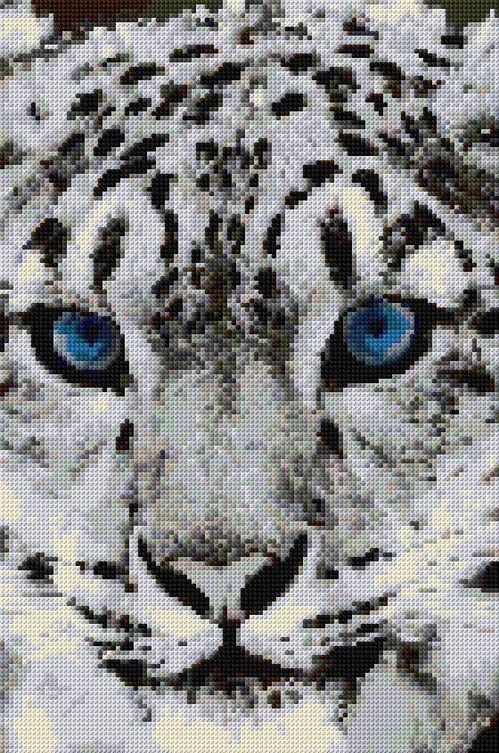 Chart Counted Cross Stitch Pattern Needlework Xstitch Snow Leopard