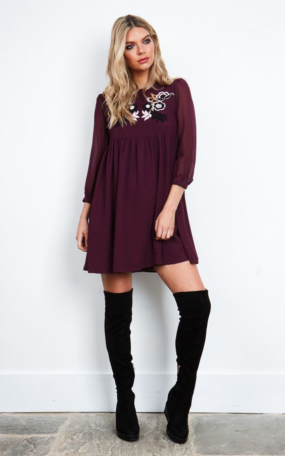 This gorgeous embroidered smock dress makes the perfect day and night outfit. The flattering a-line shape makes it ideal for every season, while the length makes it a great choice for a over the knee boots outfit.