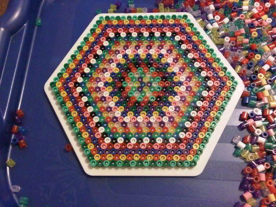 Striped Hexagon Hama  beads by murderdollsqueen on deviantart: Hama Onderzetters, Books Perler Beads, Bead Patterns, Bead Fun, Hexagon Hama, Perler Hama Beads