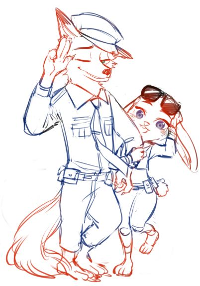 Nick Wilde and Judy Hopps in Zootopia