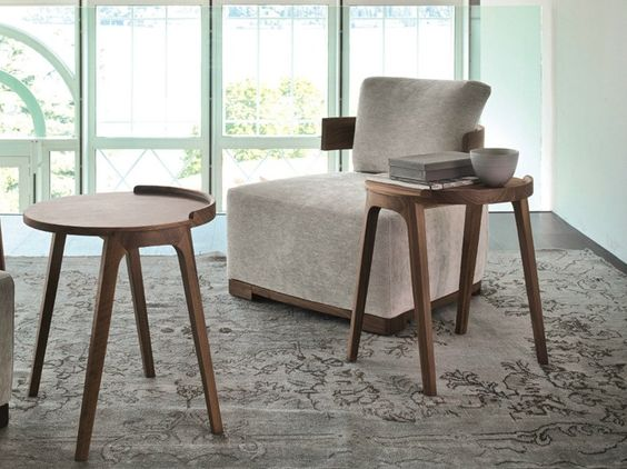 Walnut side table for living room DECK Logos Collection by Porada | design Paolo Salvadè