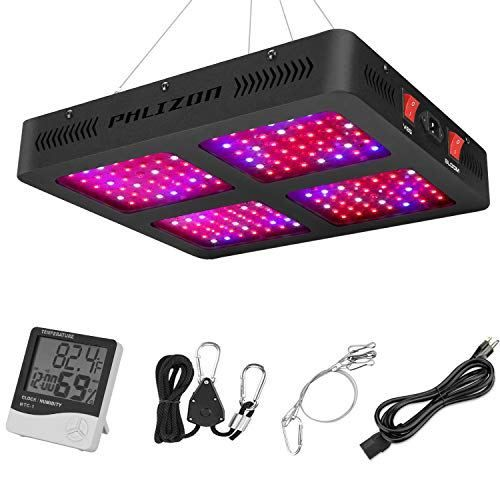Phlizon Newest 1600w Led Plant Grow Light With Thermometer Humidity Monitor With Adjustable Rope Full Spectrum Double Switch Plant Light For Indoor Plants Veg And Flower 1600w 10w Leds 160pcs Grow Lights For Plants Led