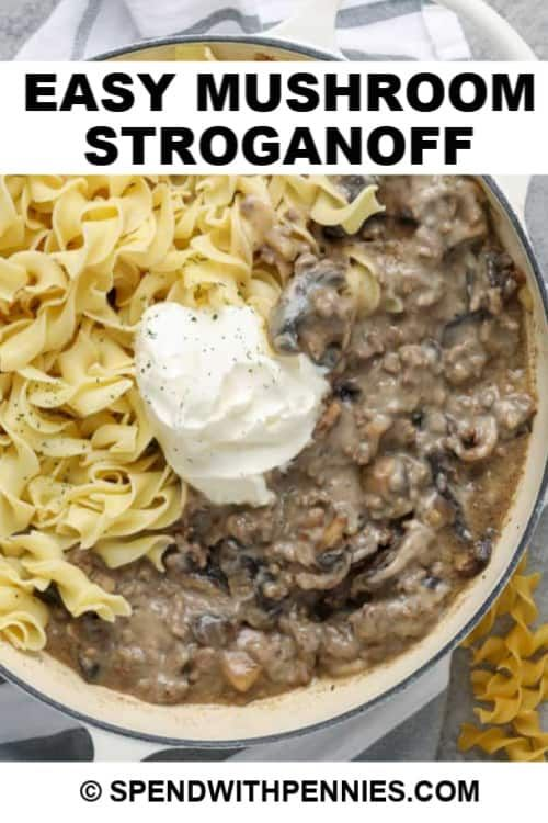 This Easy Mushroom Stroganoff Recipe Is Ready In Just 30 Mins Made With Ground Beef Cream Of Mushroom In 2020 Stroganoff Recipe Stuffed Mushrooms Mushroom Stroganoff