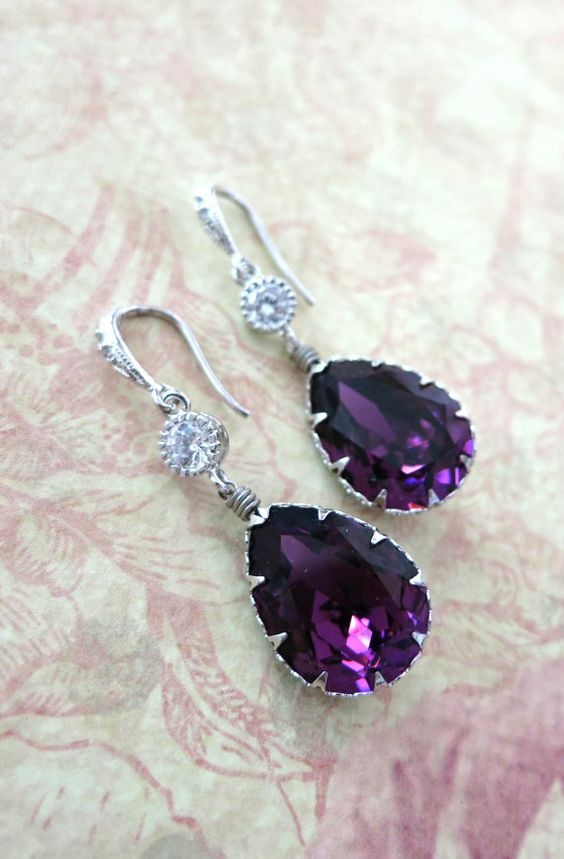 Swarovski Amethyst Crystal Teardrop Earrings, Bridesmaid Earrings, Bridal Jewelry, Purple Wedding Jewelry, Cubic Zirconia, www.glitzandlove.com