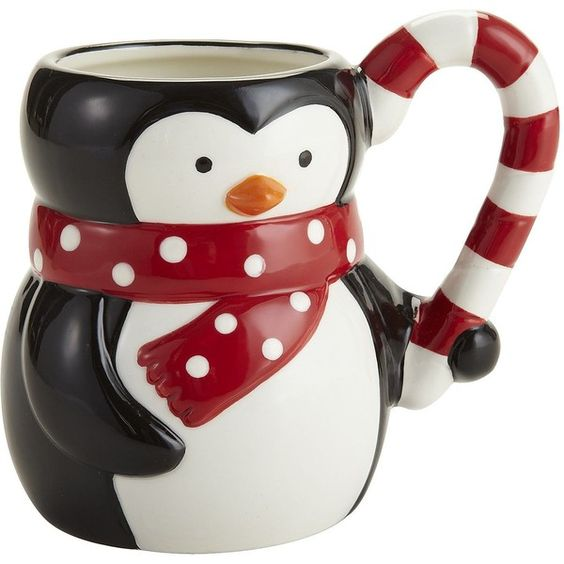 Pier One Holiday Penguin Mug (3.72 CAD) ❤ liked on Polyvore featuring home, kitchen & dining, drinkware, mugs, christmas, holiday, misc, accessories, penguin mug and christmas drinkware