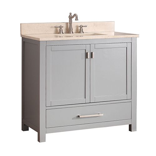 Avanity Modero Chilled Gray 36 Inch Vanity Combo With Galala Beige Marble Top