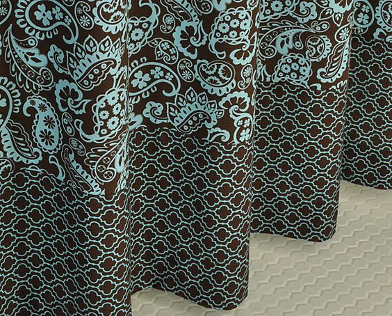 Curtains Ideas blue paisley shower curtain : Brown & Blue Paisley Shower Curtain by PondLilly on Etsy ...