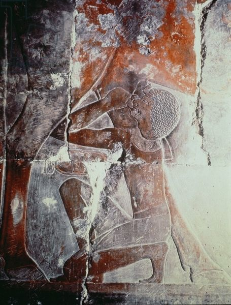 Queen Hatshepsut (c.1503-1482 BC) drinking from the udder of Hathor, relief…
