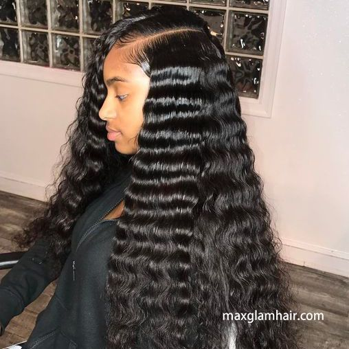 13x4 Human Hair Lace Front Wig Deep Wave Hair Styles Weave Hairstyles Curly Hair Styles Naturally