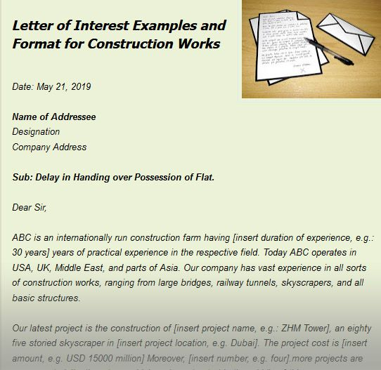 Letter Of Interest Examples And Format For Construction Works
