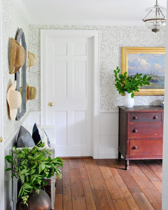 coastal and vintage style entryway and wallpaper