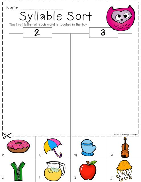 Syllable Counting Sorting 1st Grade Common Core