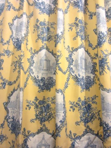 Pair Thomasville Yellow Blue French Country Toile Cotton Shower Curtains French Blue French