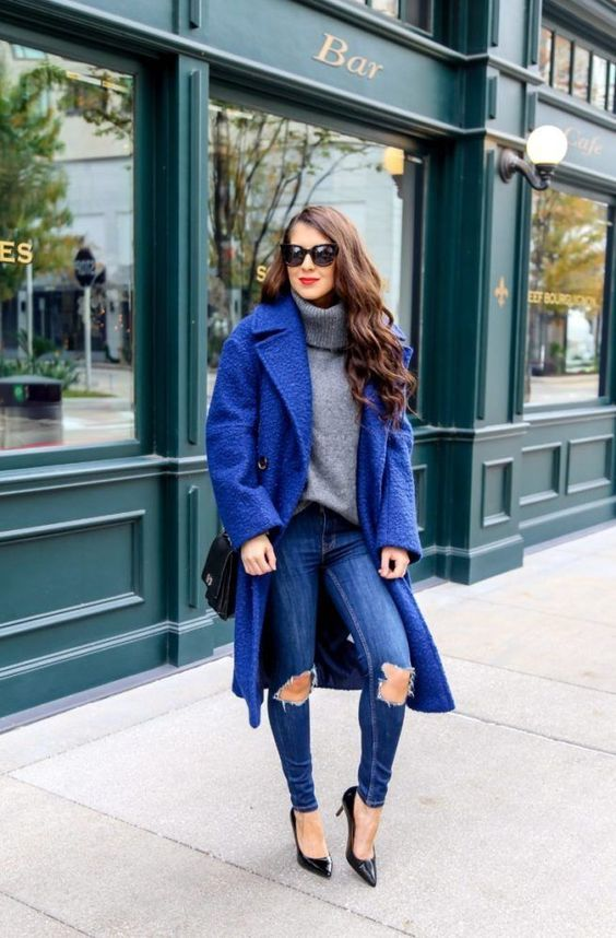 Classic Blue Coat To Keep Warm This Winter