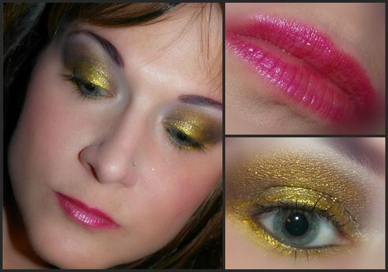 LOTD - Goldy Girl from My Beauty Addiction!  Eyes: Chocolate Diamonds applied with foiling serum, unber, lemondrop, and linen. gold digger glitter  lips: Rumors with heliotrope lip glaze on top  www.mybeautyaddiction.com   www.etsy.com/shop/mybeautyaddiction