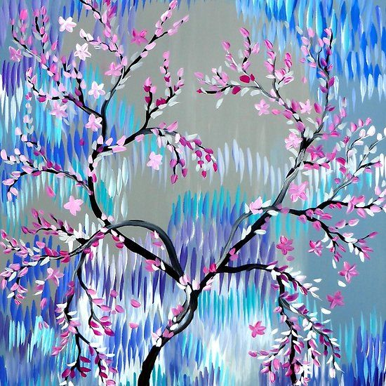 Grey And Pink With Blue Sakura In Winter An Acrylic Painting Print Of A Cherry Blossom Tree By Cathy Jacobs Sakura Cherry Blossom Sakura Cherry Blossom Tree