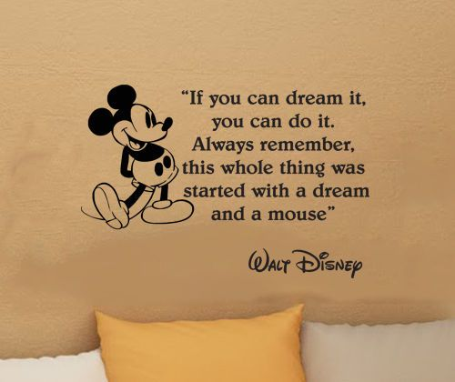 Disney Mickey Mouse IF YOU CAN DREAM IT vinyl wall art decal sticker quote 17.5i