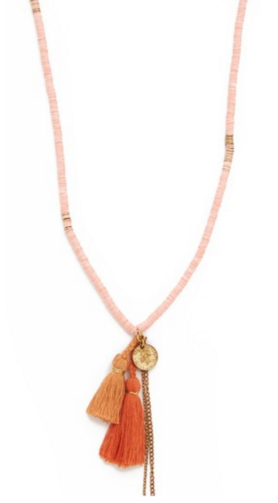Peach Mixed Pendant and Tassel Necklace
