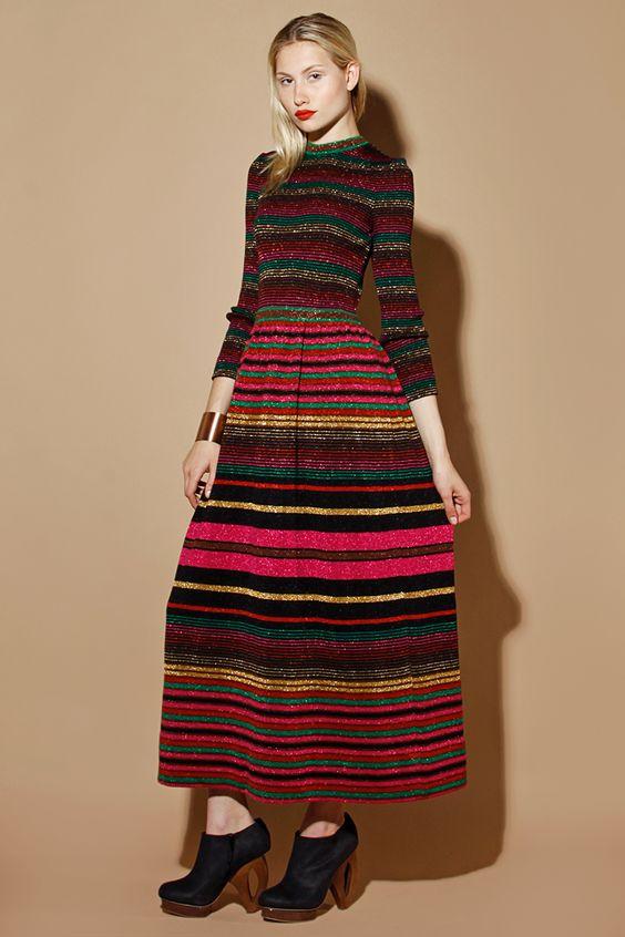 Vintage 70s Crissa Linea Italiana Metallic Wool Maxi Dress http ...