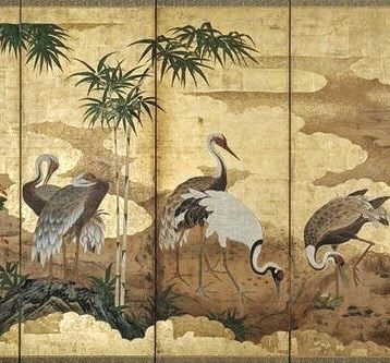Detail. Kano Einô. Cranes 郡鶴図屏風. Japanese. Edo period. latter half of the 17th century. Pair of folding screens. MFA Boston