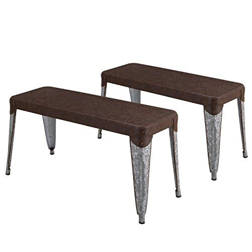 Cheap Adeco Vintage Style Metal Dining Table Bench Dark Brown Seat Panel And Chrome Legs Height 19 Inch Set Of 2 Metal Dining Table Dining Table With Bench Glass Round Dining Table
