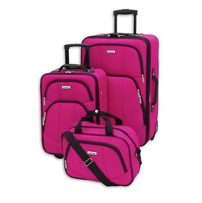 Pink Luggage Set 3 Piece Travel Girls Expandable Rolling Suitcase ...