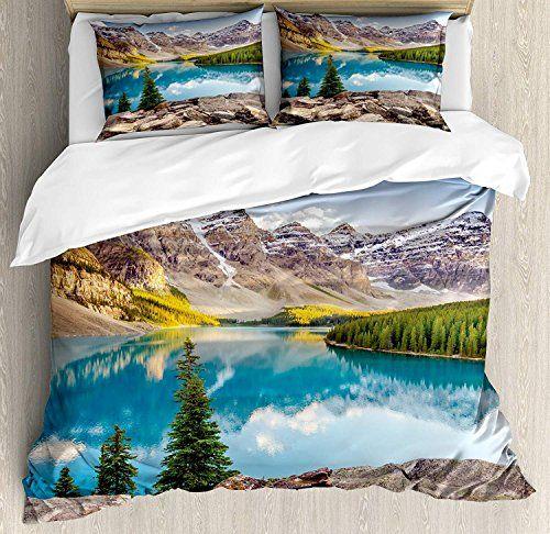 Landscape Duvet Cover Set Luxury Soft Hotel Quality 4 Piece Twin Plush Microfiber Bedding Sets Idyllic View O Duvet Cover Sets Luxury Bed Sheets Duvet Covers