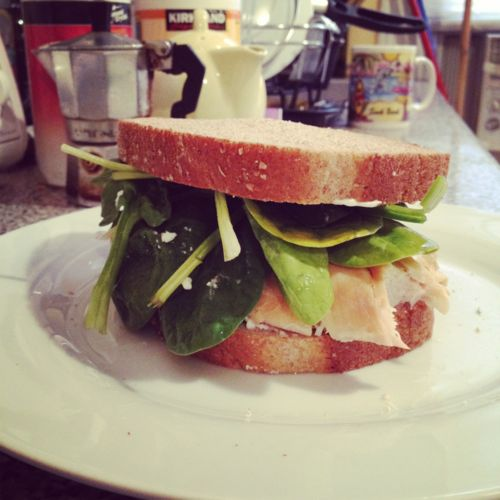 Turkey Spinach and Goat Cheese Sandwich