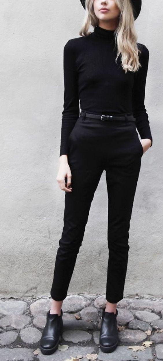 outfits negro con cuello de tortuga