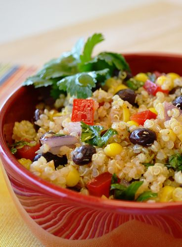 Fresh vegetables and a tangy lime cilantro dressing complements savory quinoa in this cold salad.