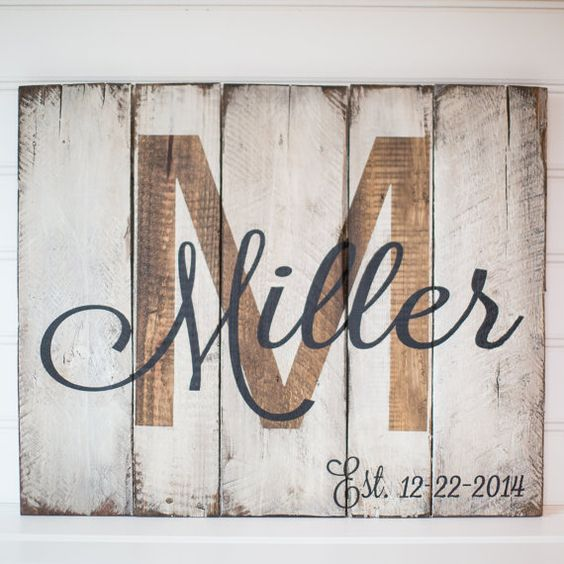 Last name with est. date rustic, wooden sign made from reclaimed pallet wood                                                                                                                                                     More