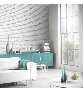 Papel pintado imitacion ladrillo blanco estilo industrial for Papel pintado imitacion ladrillo