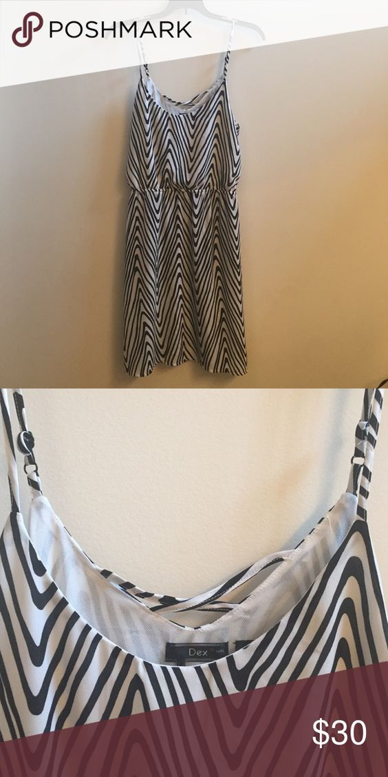 Dress Black and white zig zag spaghetti strap dress with pockets! Dex Dresses Mini