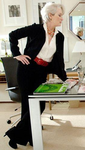 """""""The Devil wears Prada"""" - Meryl Streep in a smart black-and-white office outfit - http://www.noellesnakedtruth.com/:"""