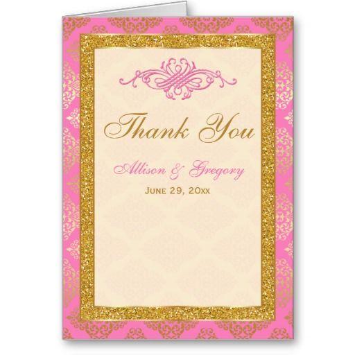 Pink Ivory Gold Glitter, Damask Thank You Card