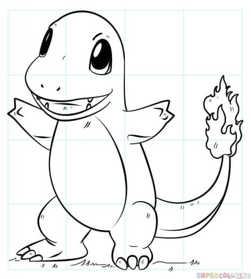 How To Draw Charmander Pokemon Step By Step Drawing Tutorials Pokemon Coloring Pages Pokemon Drawings Pokemon Sketch