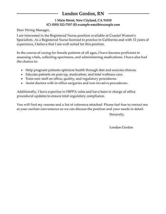 Registered Nurse Cover Letter Sample | Registered Nurse Cover