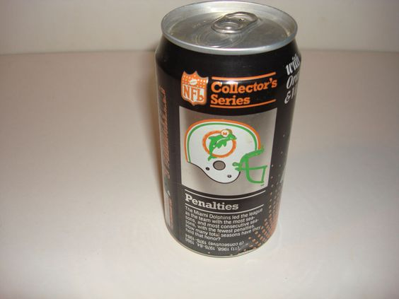 1988 MIAMI DOLPHINS FOOTBALL SODA COKE COCA COLA CAN NFL ORANGE VERY TOUGH!! #MiamiDolphins