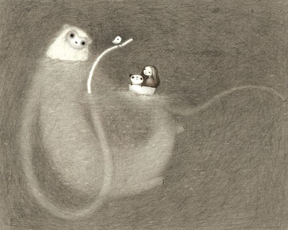 Out at Sea by Lisa Evans reminds me of adventure time