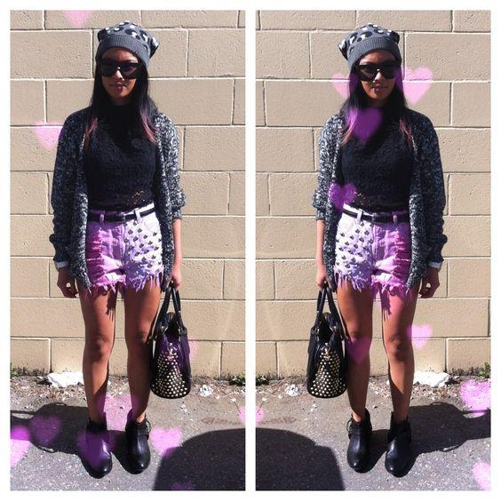 pastel studded shorts, crochet crop top, moto boots, leopard toque, Rebecca Minkoff studded purse