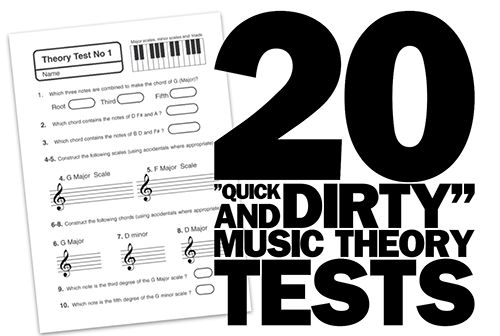 """One page """"Quick and Dirty""""Music Theory Tests (ten set at a """"basic level and ten more """"advanced"""" ones) provide the classroom music teacher with a way to assess entry behaviour and student progress"""
