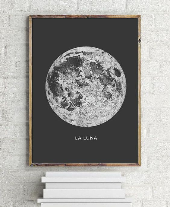 Moon Art Print. Printable Poster - PRINTABLE FILE. Astronomy Art Poster La Lune Moon - Vintage Luna Print. Bohemian Bedroom Decor. Dorm Room Wall Art.