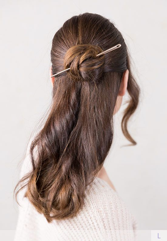 Gorgeous Celtic Knot Bun Half Up Hairstyle With A Macie Hair Stick From Lilla Rose Smooth Metal Hair Stick Available In Metallic Hair Half Up Hair Hair Styles