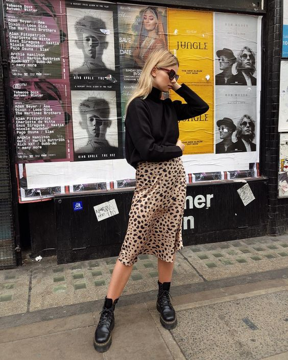 leopard print slip dress midi length with a black knit sweater and black ankle boots, leopard print skirt knee length,