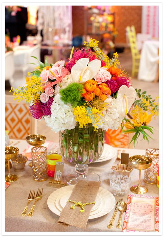 Lovely table with colorful flowers