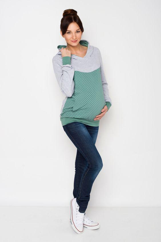 Umstandsshirt, Stillshirt, Kapuzenpullover // maternity hoodie, sweater by AgnesH. via DaWanda.com