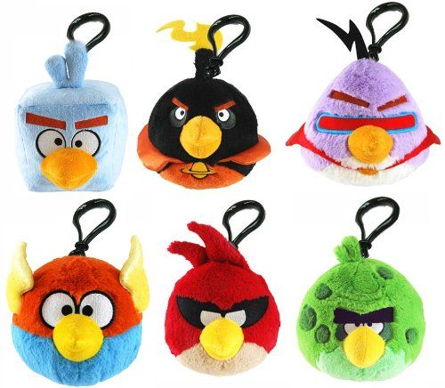 Angry Birds Space Backpack Plush Clip (6 Birds Set)