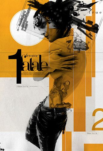 David Carson. I love multiple exposure technique  and gold  color catches my attention. The second monochromatic black & white color shows  the details throughout the poster.Furthermore, the model's curve appeal pose is in the center.